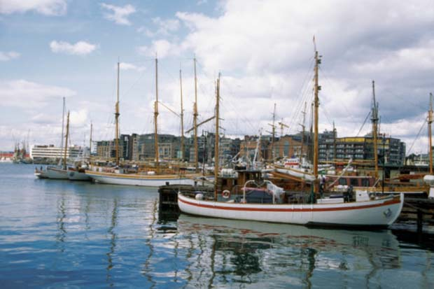 Boats moored at a Oslo Harbor