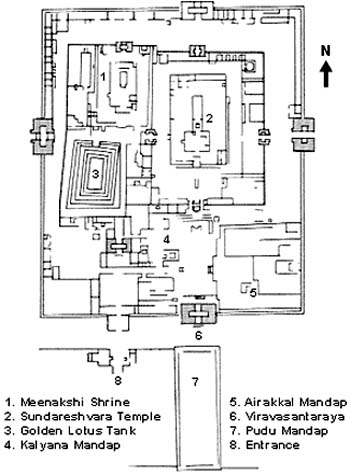 Floor Plan of Meenakshi Temple, Madurai, Tamil Nadu